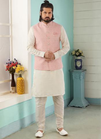 Pink Cream Art Banarasi Silk Party Wear Jacquard Kurta Pajama With Jacket