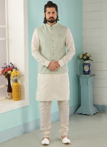 Pista Cream Art Banarasi Silk Party Wear Jacquard Kurta Pajama With Jacket