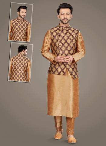 Chikoo Art Silk Festival Wear Weaving Kurta Pajama