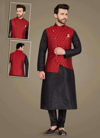 Black Art Silk Festival Wear Weaving Kurta Pajama