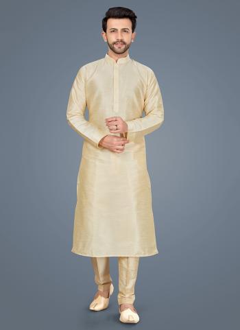 Gold Art Silk Festival Wear Weaving Kurta Pajama