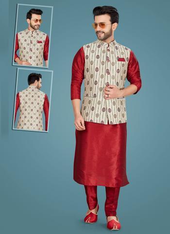 Marron Art Silk Festival Wear Weaving Kurta Pajama
