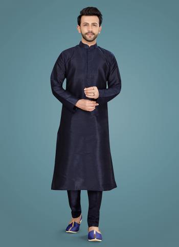 Navy Blue Art Silk Festival Wear Weaving Kurta Pajama
