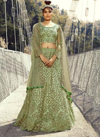 Light Green Net Bridal Wear Embroidery Work Lehenga Choli