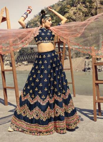 Navy Blue Pure Silk Bridal Wear Embroidery Work Lehenga Choli