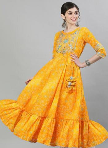 Yellow Cotton Casual Wear Embroidery Work Gown
