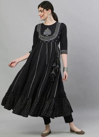 Black Cotton Traditional Wear Embroidery Work Gown