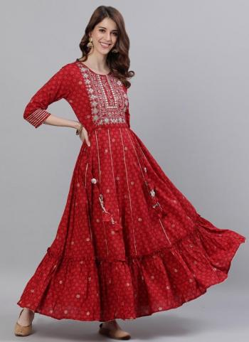 Dark Pink Cotton Traditional Wear Embroidery Work Gown