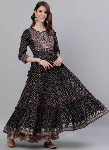 Fancy Black Cotton Traditional Wear Embroidery Work Gown