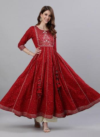 Maroon Cotton Traditional Wear Embroidery Work Gown