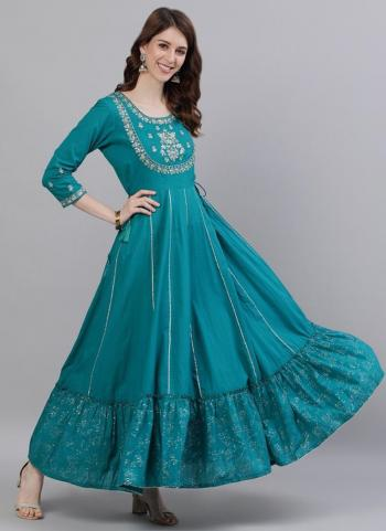Sky blue  Cotton Traditional Wear Embroidery Work Gown