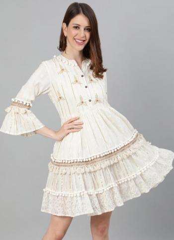 Cream Cotton Lurex Party Wear Embroidery Work Dress