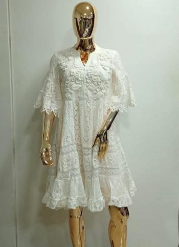 Off White Cotton Lurex Party Wear Embroidery Work Dress
