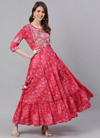 Pink Cotton Party Wear Embroidery Work Gown
