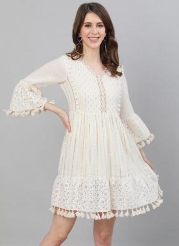 White Cotton Lurex Party Wear Embroidery Work Dress