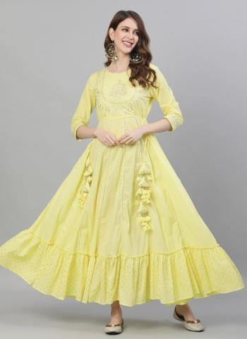 Yellow Cotton Party Wear Embroidery Work Gown