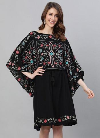 Black Cotton Casual Wear Embroidery Work Kurti