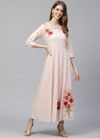 Light Pink Cotton Casual Wear Embroidery Work Kurti