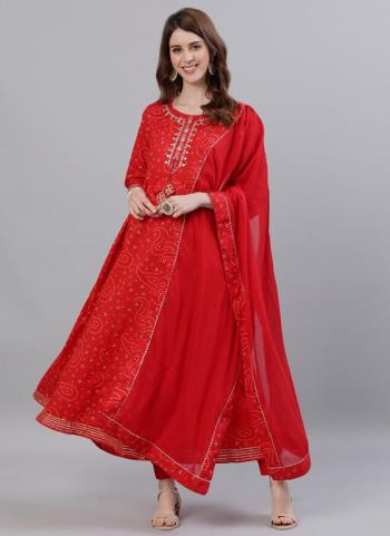 Red Cotton Casual Wear Embroidery Work Kurti