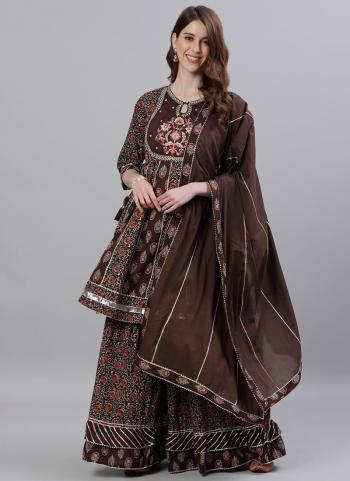 Brown Cotton Party Wear Embroidery Work Readymade Sharara Suit
