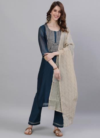 Navy Blue Fancy Party Wear Embroidery Work Readymade Sharara Suit