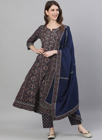 Blue Cotton Casual Wear Embroidery Work Readymade Salwar Suit