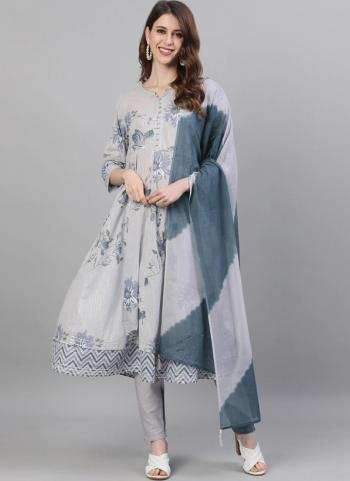 Grey Cotton Casual Wear Embroidery Work Readymade Salwar Suit