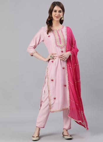 Light Pink Cotton Casual Wear Embroidery Work Readymade Salwar Suit