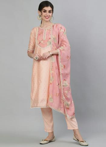 Peach Cotton Casual Wear Embroidery Work Readymade Salwar Suit