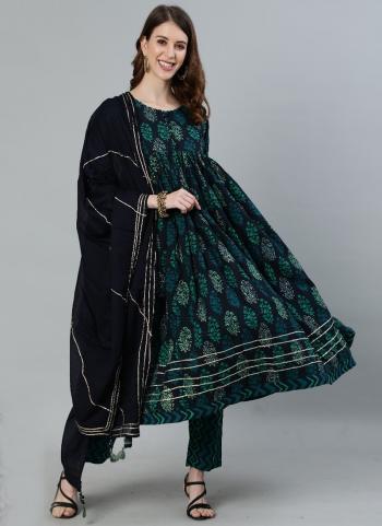 Black Cotton Festival Wear Embroidery Work Readymade Salwar Suit