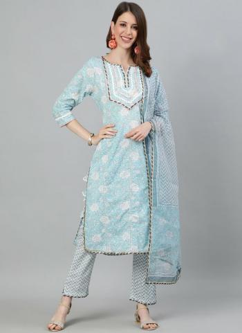 Sky blue  Cotton Festival Wear Embroidery Work Readymade Salwar Suit