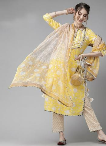 Yellow Cotton Festival Wear Embroidery Work Readymade Salwar Suit