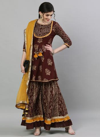 Brown Cotton Traditional Wear Embroidery Work Readymade Sharara Suit