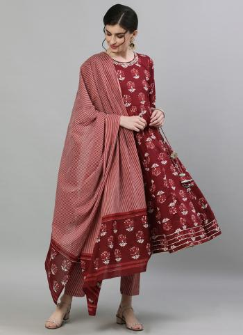 Maroon Cotton Traditional Wear Embroidery Work Readymade Anarkali Suit