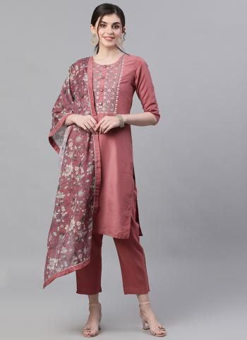 Pink Cotton Traditional Wear Embroidery Work Readymade Salwar Suit