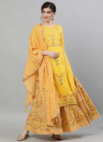 Yellow Cotton Traditional Wear Embroidery Work Readymade Sharara Suit