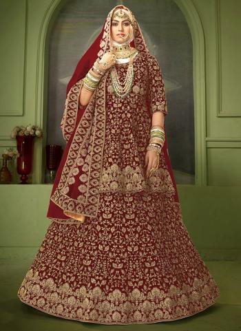 Latest Maroon Velvet Bridal Wear Coding Work Lehenga Choli