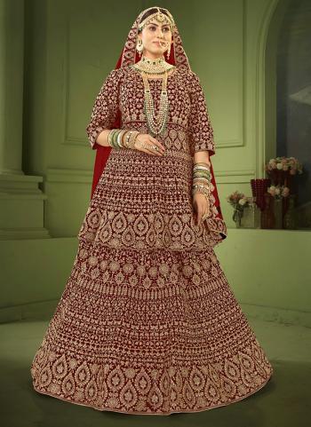 Maroon Velvet Bridal Wear Coding Work Lehenga Choli