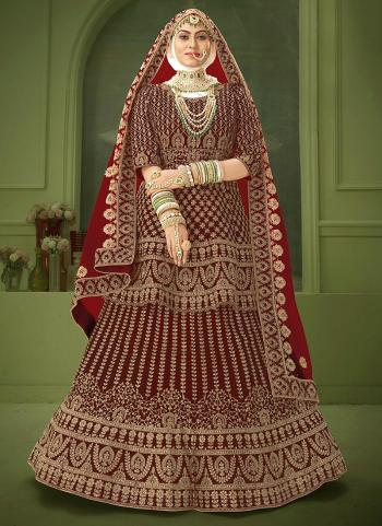 New Maroon Velvet Bridal Wear Coding Work Lehenga Choli