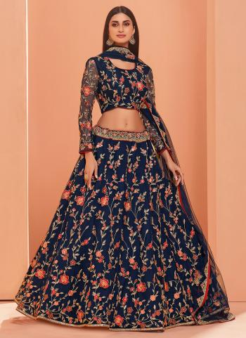 Blue Banglori Silk Wedding Wear Thread Work Lehenga Choli