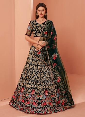 Green Banglori Silk Wedding Wear Thread Work Lehenga Choli