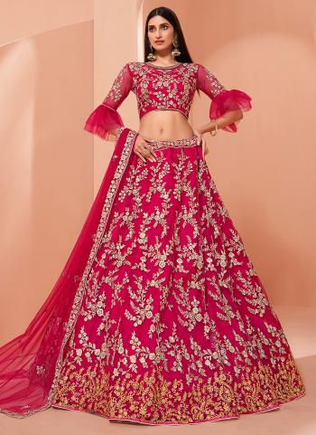 Pink Banglori Silk Wedding Wear Thread Work Lehenga Choli