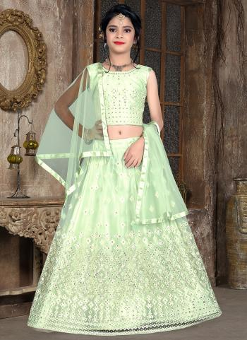 Green Net Traditional Wear Thread Work Kids Lehenga Choli