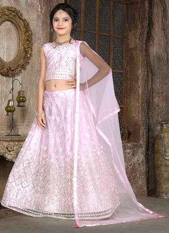 Pink Net Traditional Wear Thread Work Kids Lehenga Choli