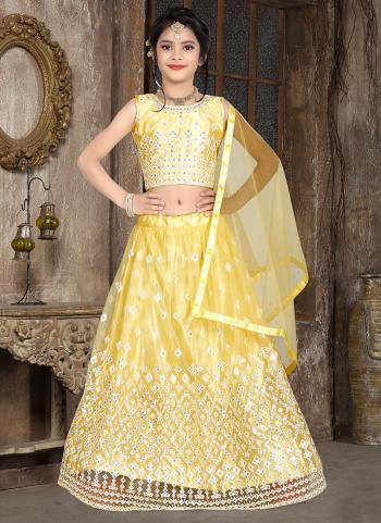 Yellow Net Traditional Wear Thread Work Kids Lehenga Choli