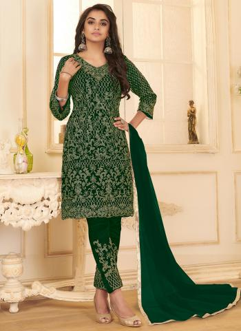 Green Net Party Wear Embroidery Work Straight Suit