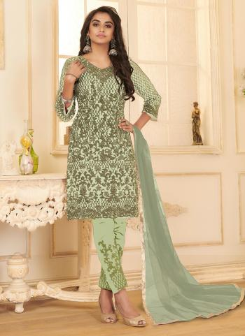 Pista Green Net Party Wear Embroidery Work Straight Suit