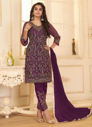 Purple Net Party Wear Embroidery Work Straight Suit
