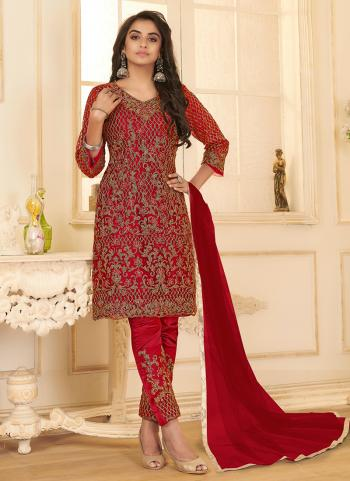 Red Net Party Wear Embroidery Work Straight Suit