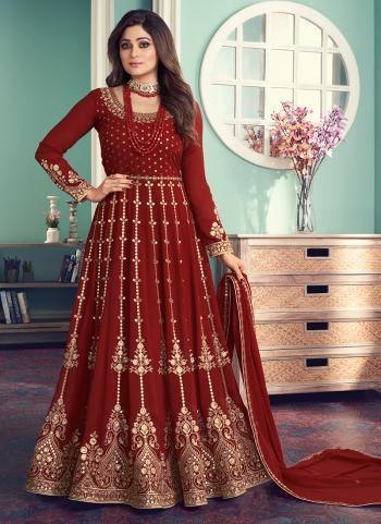 Maroon Georgette Wedding Wear Embroidery Work Anarkali Suit